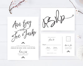 Black and White wedding invitations # 112.2
