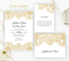 Gold lace wedding invitation sets # 90.3