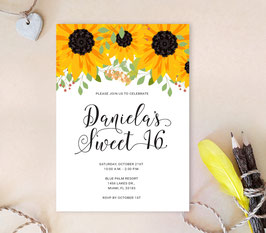 Sunflower Quinceanera Invitation - white
