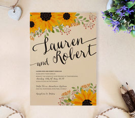 Rustic sunflower wedding invitations # 77.1