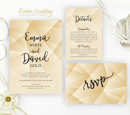 Gold wedding invitation sets  # 106.3