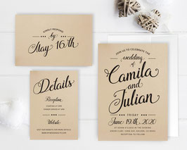 Kraft paper wedding invitations  # 114.3