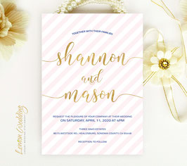 Pink and gold wedding invitations # 82.1