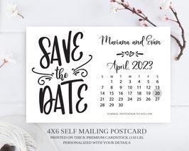 Calendar save the date postcard