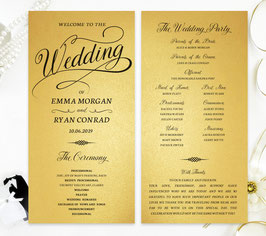 Gold paper wedding programs # 0.25