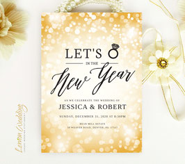 Gold New Year's Eve Wedding invitation # 120.1
