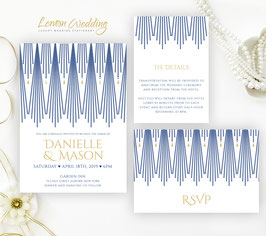 Royal blue and gold wedding invitesn # 97.3