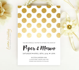 Polka dot wedding invitations # 94.1