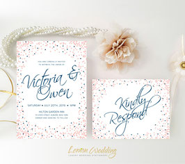 Navy and pink wedding invitations # 80.2