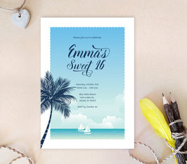Palm Tree Quinceanera Invitations