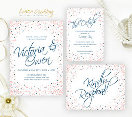 Pink and navy wedding invitations # 80.3