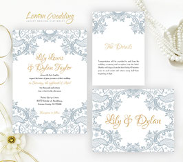 Grey lace wedding invitation # 19.3