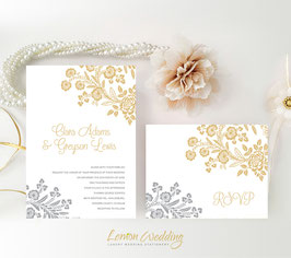 Gold and Silver wedding invitations # 40.2