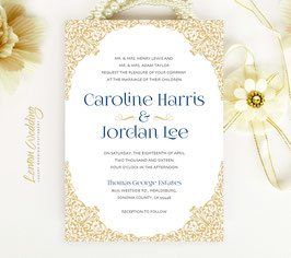 Gold and Navy Wedding invitations # 49.1