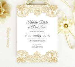 Gold lace wedding invitations # 90.1