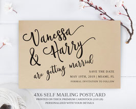 Calligraphy save the date postcards