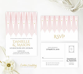 Pink and gold wedding invitation # 76.2