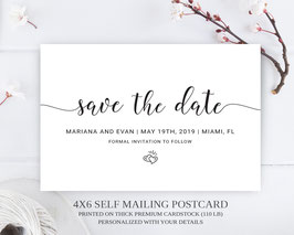 Black and white save the date postcards