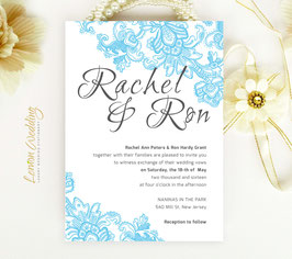 Blue lace wedding invitations # 93.1