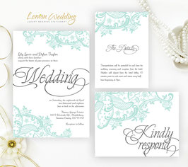 Mint Green Wedding Invitation kits # 22.3