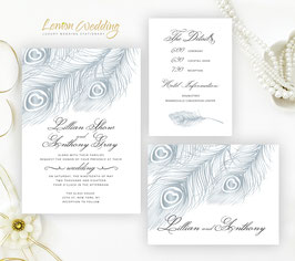 Silver feather wedding invitations # 45.3