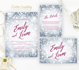 Silver New Year's Eve Wedding Invitations  # 119.3
