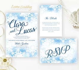 Snowflakes wedding invitations # 71.3