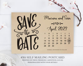 Calendar save the date postcards