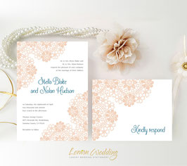 Blush lace wedding invitations # 73.2