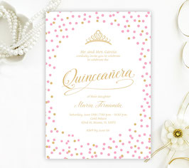 Pink and gold Quinceanera Invitations