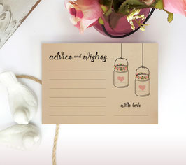 Country wedding advice cards pack of 100