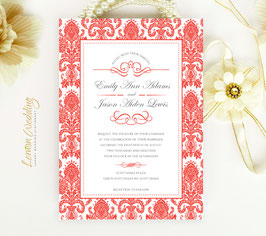 Red and white wedding invitations # 108.1