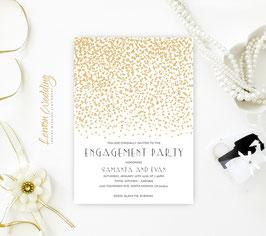 Gold Stars Engagement Invitation