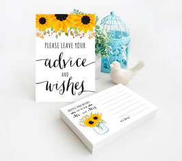 Sunflower Wedding Advice Cards - pack of 100