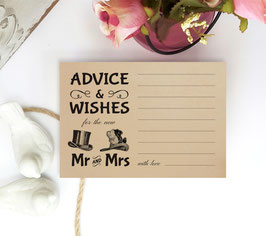 Retro syle advice and wishes cards - pack of 100