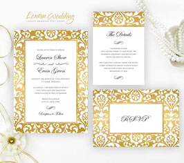 Gold frame wedding invitations # 99.3
