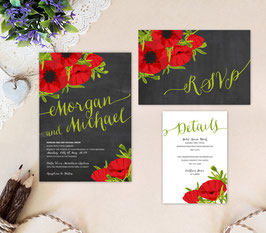 Black and red wedding invitations # 79.3