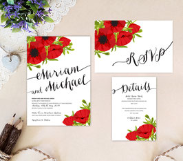 Wedding invitations with poppy flower # 104.3
