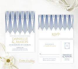 Navy blue and gold wedding invitations # 97.2