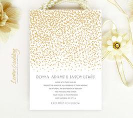 White and gold wedding invitation # 23.1