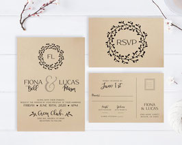 Brown paper wedding invitations # 84.2