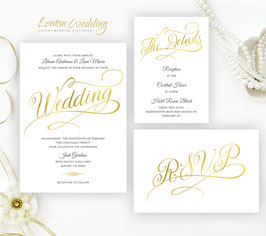 Gold and white Wedding Invitations # 122.3