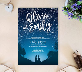 Starry Night Lesbian Wedding invites