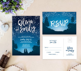 Starry Night Lesbian Wedding Invitations