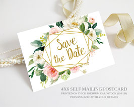 Flower save the date postcards