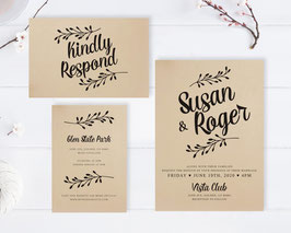 Rustic wedding invitation sets  # 110.3