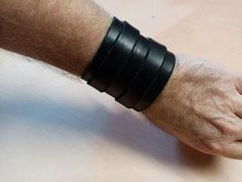 Bracelet de force en cuir noir