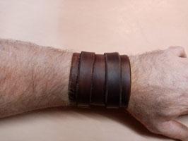 Bracelet de force en cuir brun