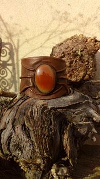 bracelet en cuir et cornaline