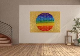 Lebensblume Chakrenfarben-Gold
